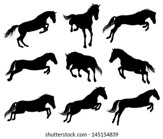 Set of a jumping horse sulhouettes