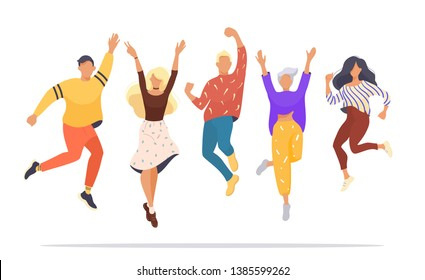 set of jumping successful happy people. Vector illustration concept of team building. Modern vector illustration flat design for web banner, marketing material, business presentation