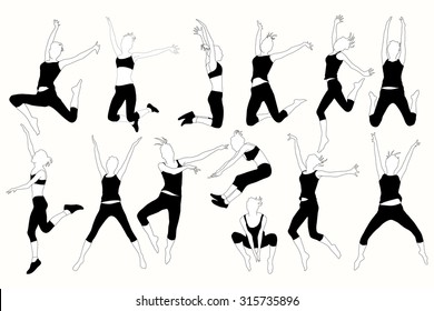 Set of jumping women in different poses.