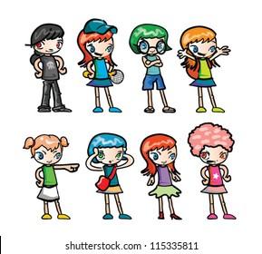 Set of Junior High Girls