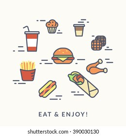 Set of junk food contour icons such as burger with hotdog, chicken with french fries and coffee with wafer and muffin. Flat line illustration isolated on white