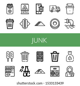 Set of junk icons. Such as French fries, Garbage bin, Candy machine, Hot dog, Bin, Sandwich, Garbage, Donut, Waste, Corn dog, Vending machine, Trash, Bottle throw , junk icons