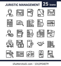 Set of juristic management outline 25 icons
