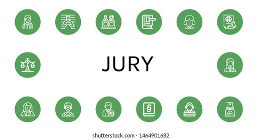 Set of jury icons such as Judge, Prisoner, Jury, Law, Justice, Lawyer, Scale , jury