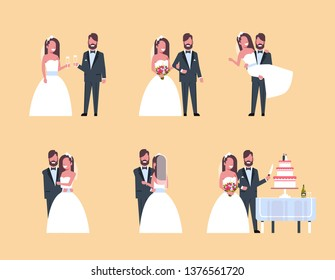 set just married man woman standing together different poses collection romantic couple bride and groom in love wedding day concept full length horizontal flat