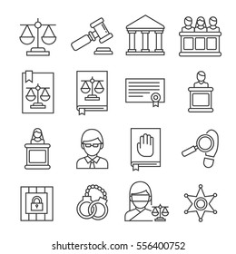 Set of justice Related Vector Line Icons. Includes such Icons as justice scales, justice hammer, law book, judge, lawyer, handcuffs