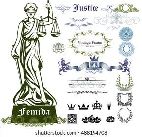 Set of justice symbols, ornaments and illustration of Femida - goddess of justice.