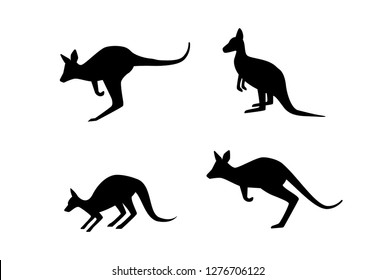 Set of kangaroo in silhouette style, vector art