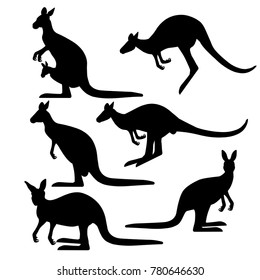 Set of kangaroo silhouettes in various poses. Vector iIlustration isolated on the white background