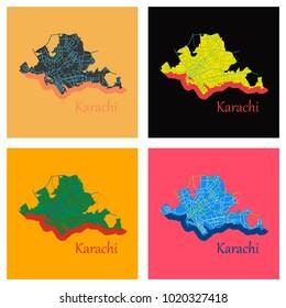 Set of Karachi, Pakistan, colorful flat map. streets, railways and water. Bright colored landmark shapes. Art print pattern.