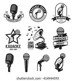 Set of karaoke related vintage labels, badges and design elements. Microphones isolated on white background. Vector vintage illustration.