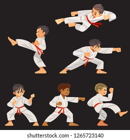 Set of karate boys characters in different positions. Character set, karate workout. Flat design vector illustration