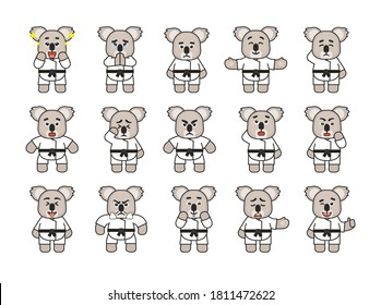 Set of karate koala mascots showing various emotions. Cute karate koala laughing, amazed, begging, angry, sad and showing other expressions. Vector illustration bundle
