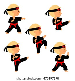 """Set of karate poses in cartoon style. Cute boy practices kicks. Kid in black kimono with red belt and head band with """"Rising Sun"""" symbol."""