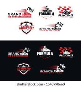 Set of Karting race symbol logo,emblem template vector image . Go kart logo Vector . Kart driver sport logo icon.Man drive kart in helmet background design