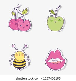set kawaii apples with bee and mouth sticker