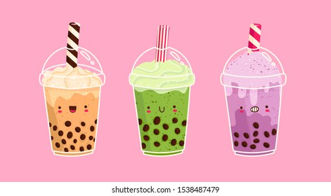 Set of kawaii Bubble tea. Milk tea with tapioca pearls. Boba tea. Asian Taiwanese drink. Hand drawn colored trendy vector illustration. Cartoon style. Flat design. All elements are isolated