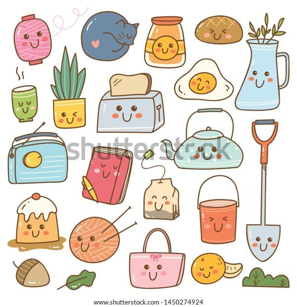 Set Kawaii Doodles Cute Stickers Fashion Stock Vector Royalty Free 1450274924