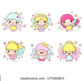 Set of kawaii fairy. Little girl in fairy costume. Cute Fairies collection. Six fairies with butterfly wings. Vector EPS8