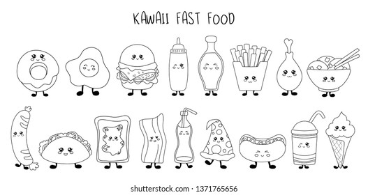 Set of kawaii fast food - black line sweets, junk food, sushi, desserts on white background, cute characters for print, cards. Isolated elements for design. Vector outline illustration