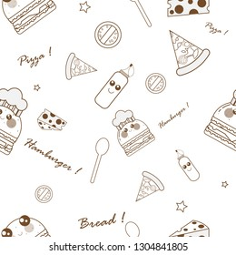 Set kawaii food pattern with brown stroke on white background.