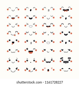 Set of kawaii funny emoticons in Japanese anime, manga style . Isolated objects on white background. Hand drawn doodle vector illustration. Design concept for avatar, smiley, sticker.