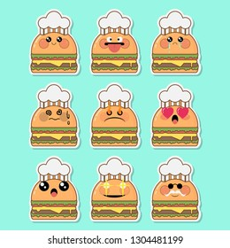 Set of kawaii hamburger sticker with different face on blue background.