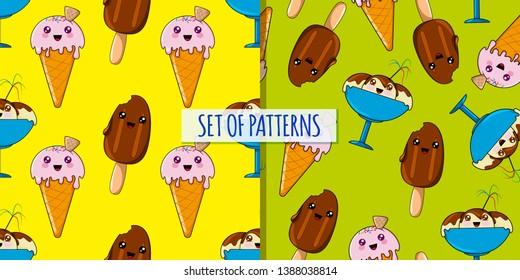 Set of kawaii ices patterns. Vector pattern design