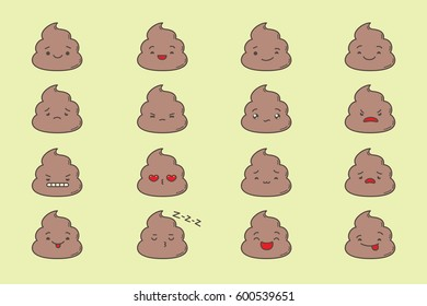 Set of kawaii poop emoticons. Isolated on light yellow background.