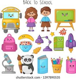 Set of kawaii school supplies, back to school concept, cute cartoon characters - kids, panda, yellow bus, book, pencils, backpack. Childrens vector flat illustration