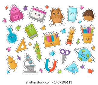 Set of kawaii school supplies, back to school or learning concept, cute cartoon characters - pencil, backpack, flasks, book, planete. Childrens vector flat illustration of education