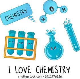 Set of kawaii school supplies, back to school or learning concept, cute cartoon characters - flasks, test tubes, molecule, text cloud. Childrens vector flat illustration of education