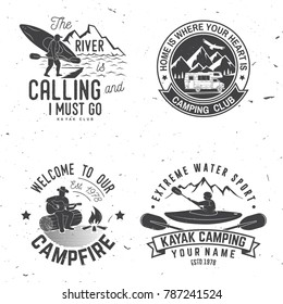 Set of kayak, camping and caravanning club badge. Vector illustration. Concept for shirt, print, stamp or tee. Vintage typography design with mountain camp and kayaker silhouette. Extreme adventure.