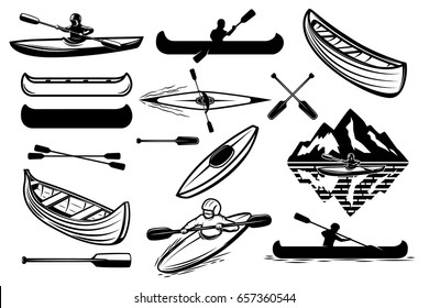 Set of the kayaking sport icons. Canoe, boats, oars mans. Design elements for logo, label, emblem, sign. Vector illustration