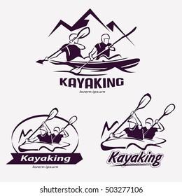 set of kayaking templates for labels, emblems, badges or logos, water sports