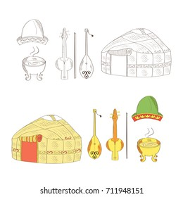 A set of Kazakh objects. Yurt, dombra, kobyz, headdress, a container for cooking food. Color and monochrome drawing. Sketch