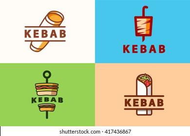 set kebab logos. flat vector illustration