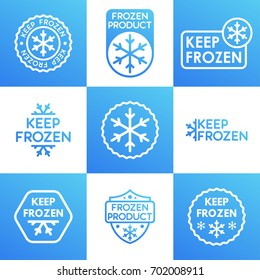 Set of Keep Frozen product signs. Vector illustration.