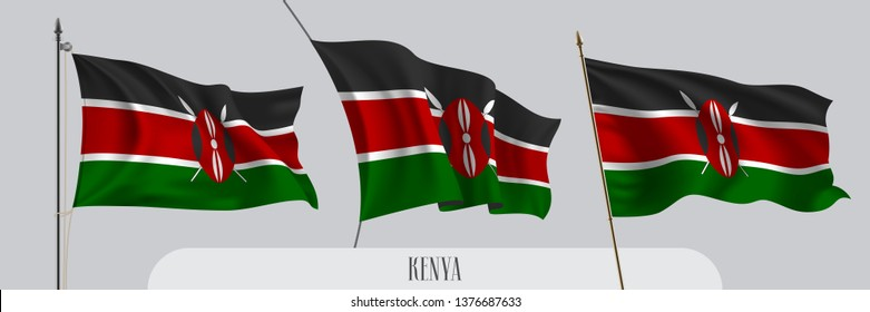 Set of Kenya waving flag on isolated background vector illustration. 3 red green Kenyan wavy realistic flag as a patriotic symbol