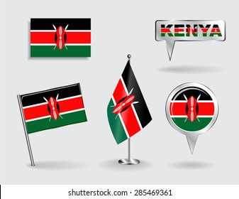 Set of Kenyan pin, icon and map pointer flags. Vector illustration.