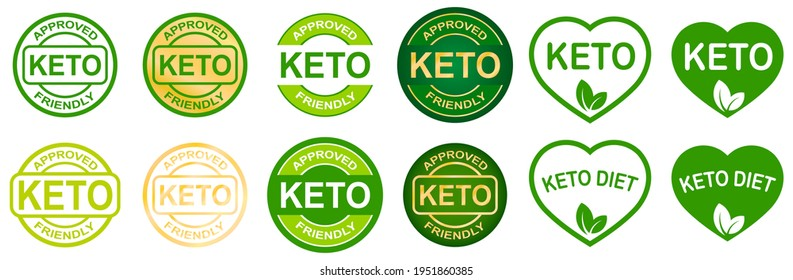 Set of keto stamps. Love keto. Ketogenic diet. Plant based vegan food product label. Green heart-shaped stamp. Logo or icon. Sticker. Vegeterian.Keto approved friendly. 2 small leaves