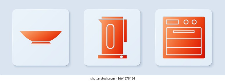 Set Kettle with handle, Bowl and Oven. White square button. Vector