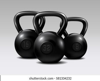 Set of kettlebells