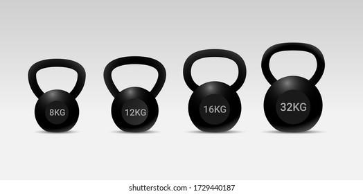 Set of kettlebells. Realistic Black kettlebells. Vector illustration. Kettlebell vector icon. Realistic vector icon isolated on white background kettlebell. vector kettlebells icon symbol sign.
