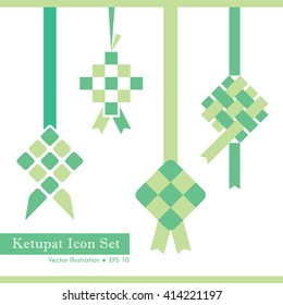 Set of ketupat icon in 4 different design. Vector illustration.