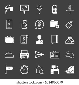 set of key, mirror, search stats, phone, direction, touchscreen, wallet, dollar, add folder, price tag, case, bill, notebook, estate, printer, chat, badge, business flag, map pin,stopwatch vector icon