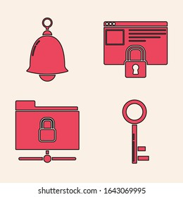 Set Key , Ringing bell , Secure your site with HTTPS, SSL and FTP folder and lock  icon. Vector
