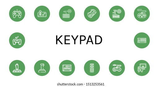Set of keypad icons such as Gamepad, Joystick, Keyboard, Remote control, Game console, Videogame, Game controller , keypad