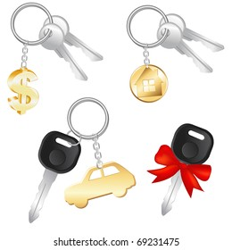 Set Of Keys With Charm In Form Of Dollar, Car And House, Isolated On White Background, Vector Illustration