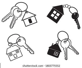 Ensemble de clés avec une maison. Collection de clés avec immeubles résidentiels. Logo pour les agents immobiliers. Illustration vectorielle sur fond blanc.